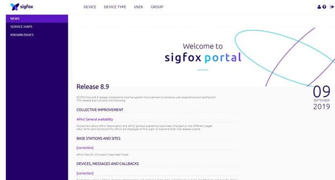 Start the Sigfox portal (main page of the Sigfox backend) and choose ´DEVICE TYPE´