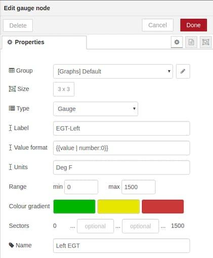 Property sheet for EGT-Left gauge