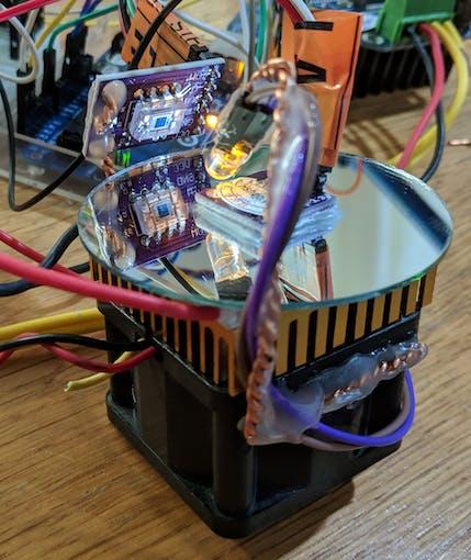 Mounted LED and OPT101 light sensor