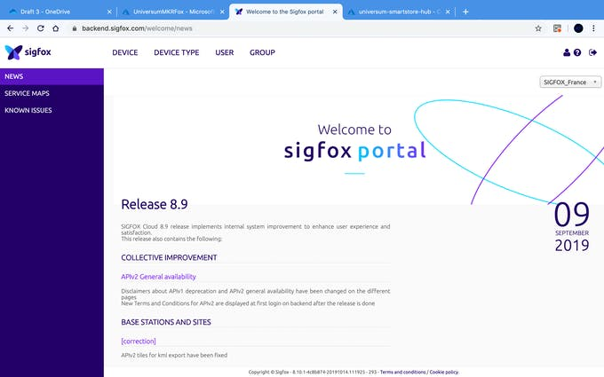 Open the SigFox portal