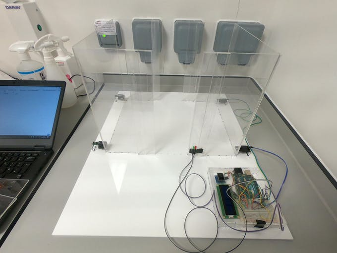 Figure 3. Behavioural box. Main box is made of acrylic sheets, with both the front and back open. Arduino and other electronics are held within a small box