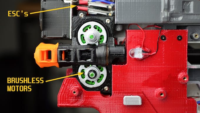 The Brushless Outrunner Motors are the green things. Usually used for RC Plane propellers.