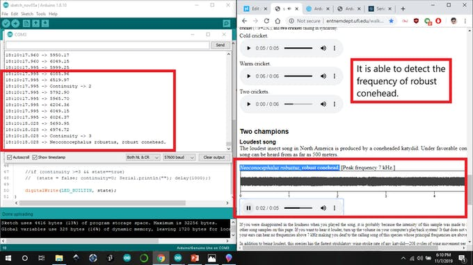 I experimented and found out that this library is able to detect the frequencies of cricket insects and also distinguish between them..