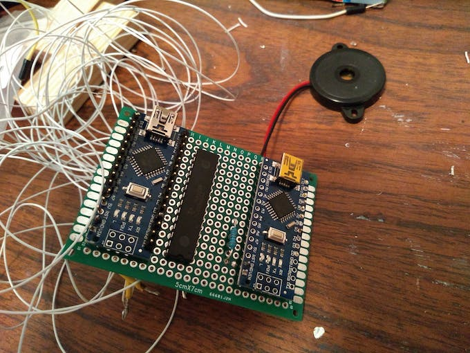 Two Arduino Nanos on a prototyping PCB board