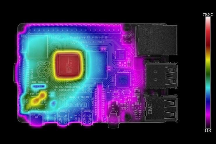 Raspberry Pi 4B clocking firmware - 60 seconds of load. (📷: Gareth Halfacree)