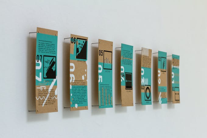 Silkscreen printed cards explaining the different aspects of erosion and communication. Remnants of the residency.