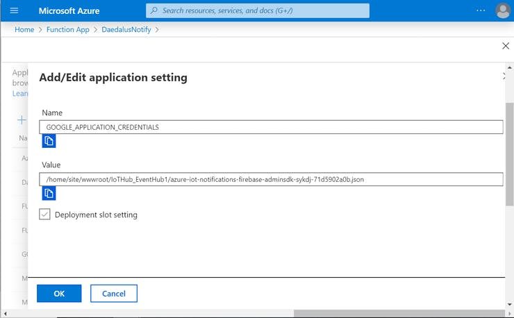 Click New application setting and fill out the fields as in the image (replace the json file with yours)
