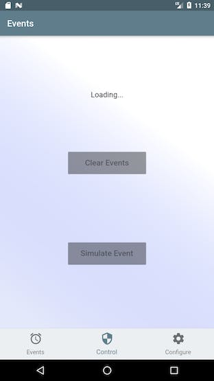Events screen loading