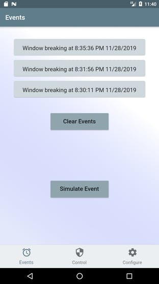 Events screen