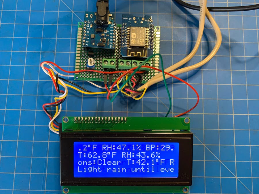 IoT Dual Temp and RH Recorder with 4 Row Scrolling LCD