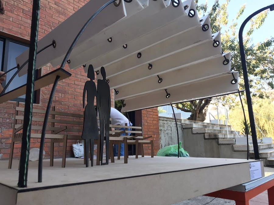 Architectural Model of a Bus Stop with Automatic Sunshade V2