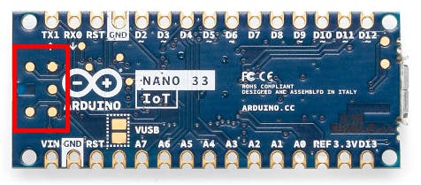 Location of the solder pads on the Nano 33 IoT (and BLE) board