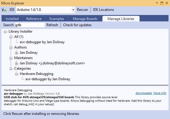 Library Manger Showing GDB Stub Library