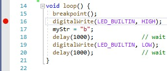 Breakpoint added on Line 16 of the code (red circle)