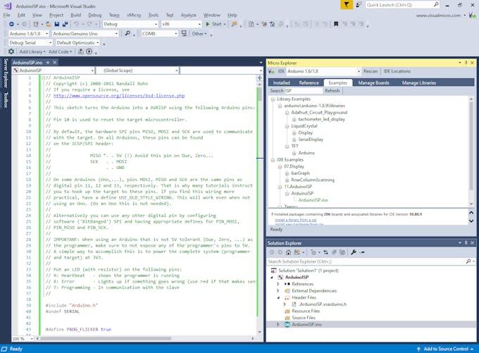 Visual Micro Explorer loading ArduinoISP example