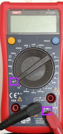 Diode settings shown on a standard voltmeter