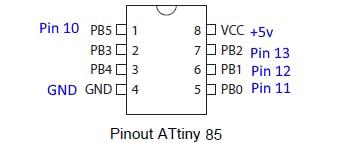 Arduino Uno (BLUE) wiring to ATtiny when programming
