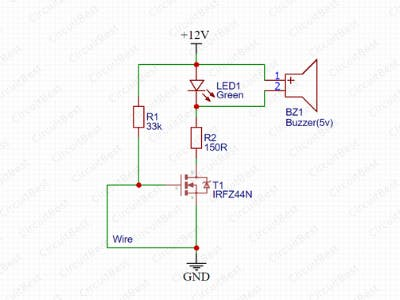 Wire Break Alarm Circuit With IRFZ44N MOSFET