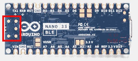 Location of the solder pads on the Nano 33 BLE (and IoT) board