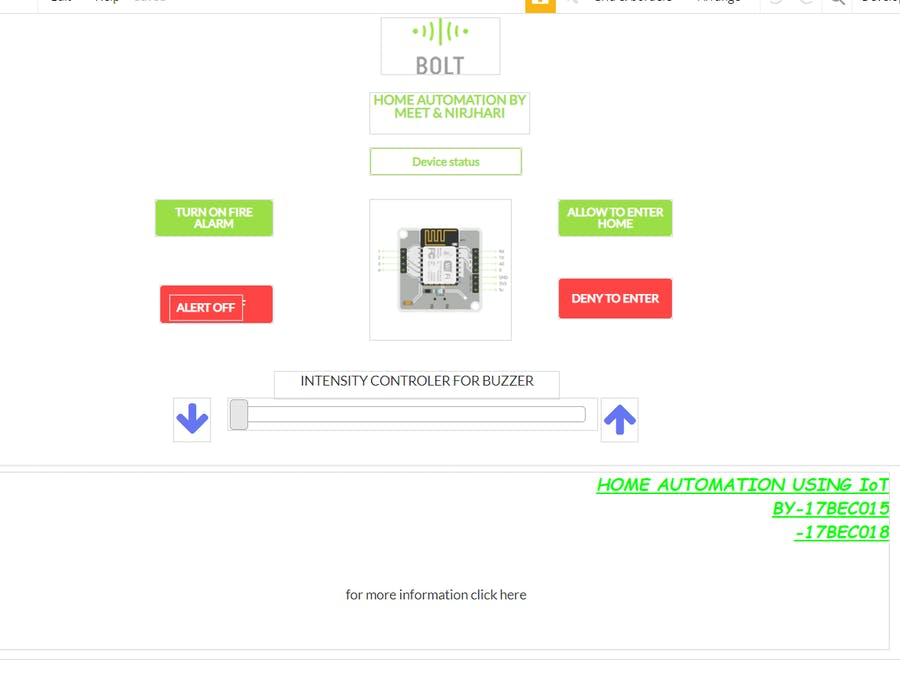 Home Monitoring and Control Using Bolt WiFi Module