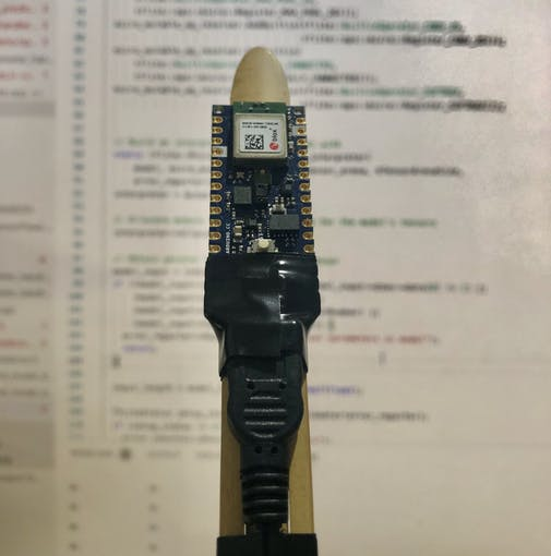 "Figure 2 - Arduino Nano 33 BLE Sense on a stick with ""correct"" orientation"