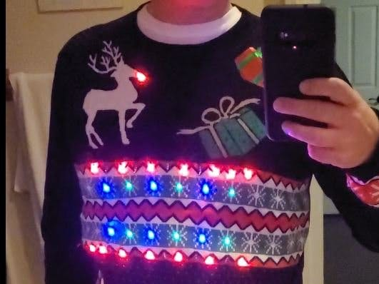 Christmas Sweater with Music LED Light Show