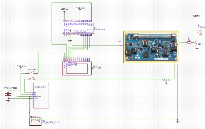Circuit diagram Geiger Counter (made with easyEDA)
