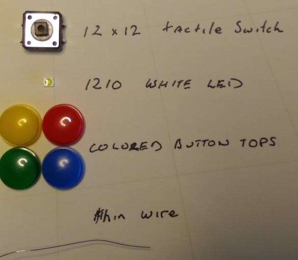 Parts required to make an illuminated button