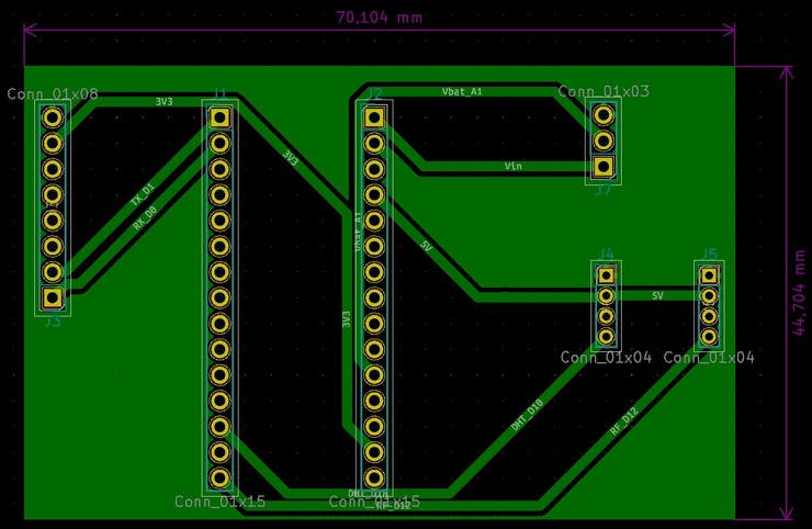 Microcontroller and sensors PCB