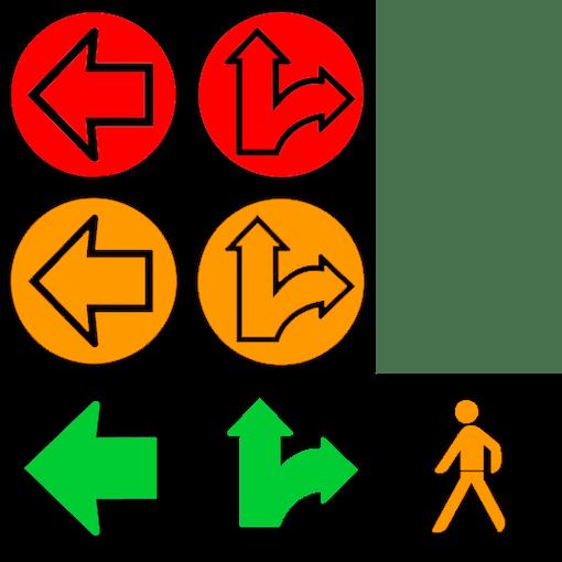 Main traffic light for two lanes of traffic