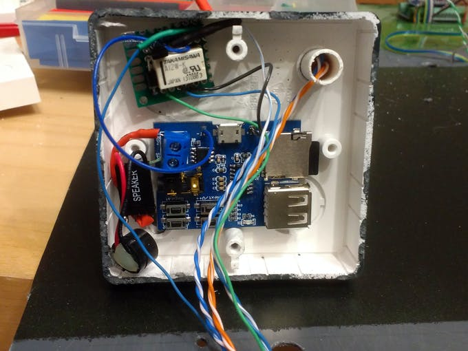 """MP3 module with piezo speaker and relay breakout built-in under the """"sidewalk"""""""