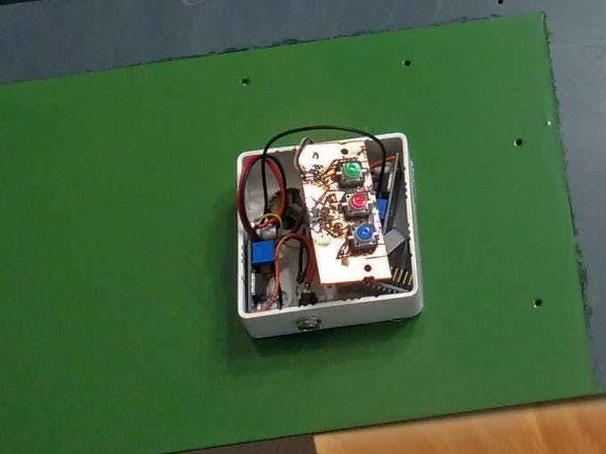 Power supply with two buck converters, PCF8574 breakout and PCB with buttons.