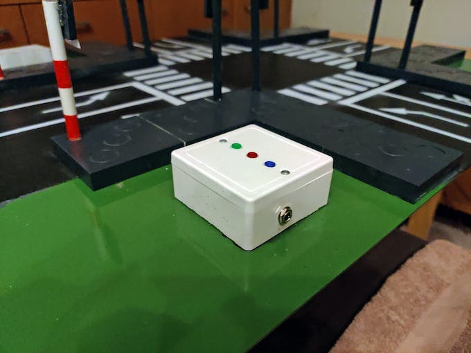 Assembled box with power supply and buttons