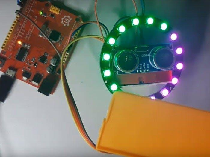 Arduino LED Ring Ultrasonic Distance Sensor