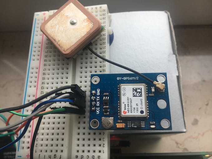 connected 5V/Ground an breadboard to power LCD Display and GPS Receiver