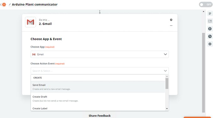 We want to send an email as action triggered by the webhook