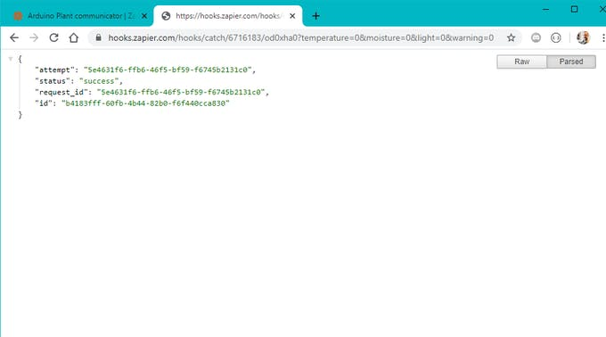 Pasting the URL formed with our additional parameters into a web browser shoud produce a result as the one above.