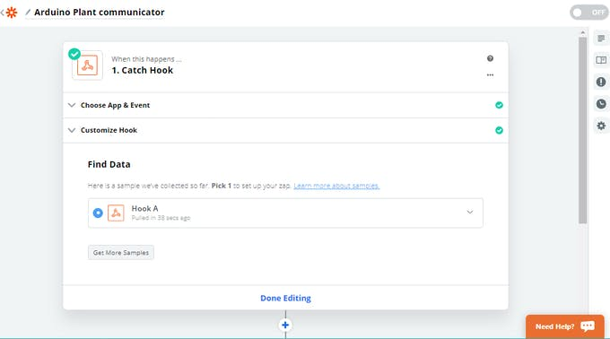 The successful test of the hook is also registered by Zapier