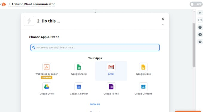 We create the Zap selecting Gmail from the Apps