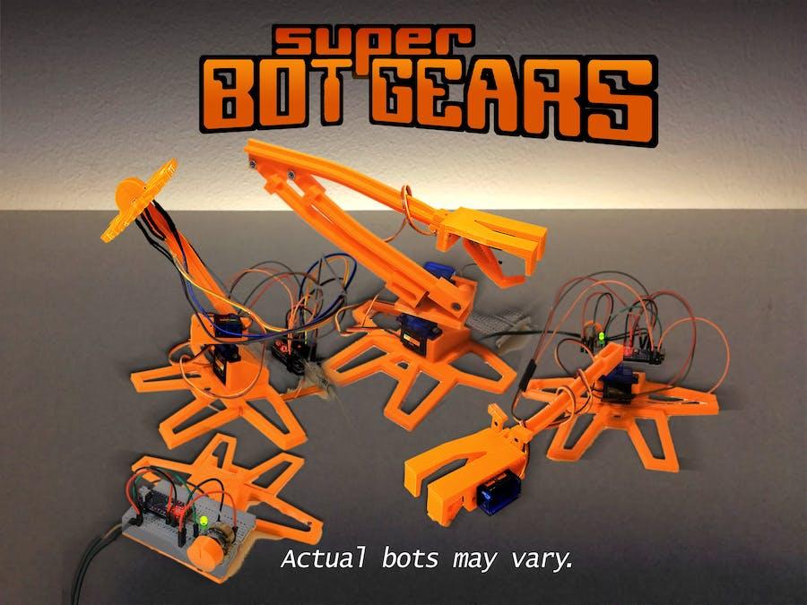Super Bot Gears - a 3D-printed Arduino starter kit