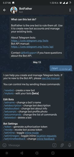 Start the bot by giving the command '/start'