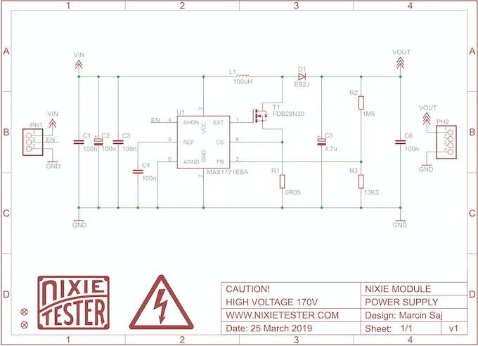 Nixie Power Supply Module Schematic