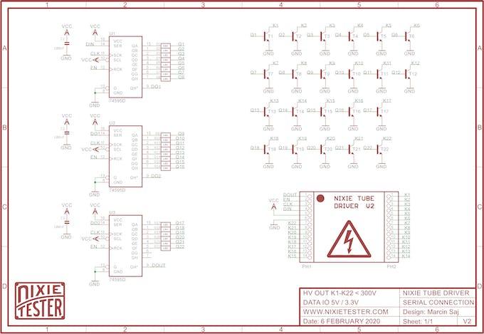 Nixie tube Driver V2 Schematic