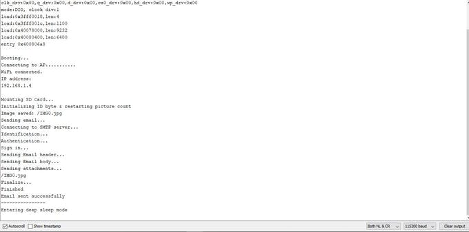 Here's the screenshot from the arduino serial monitor.