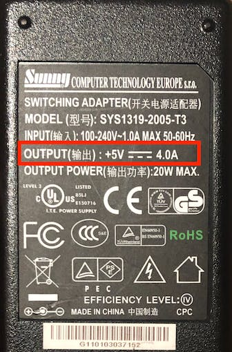Power source must be capable of delivering 2A at 5V
