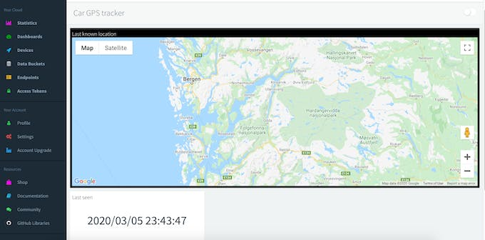 Thinger.io Dashboard with map- and value widget.