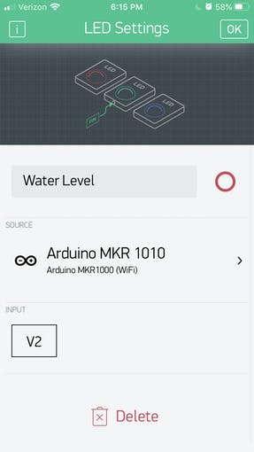 The settings for the water level status led.
