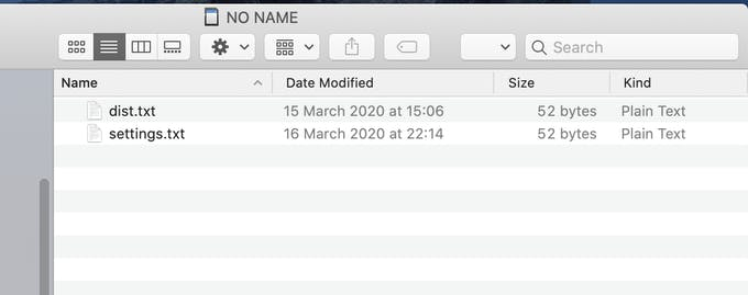 The two text files placed in the root folder on the SD card