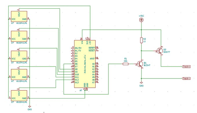 Circuitry with hall effect switches, Arduino and transitor driver