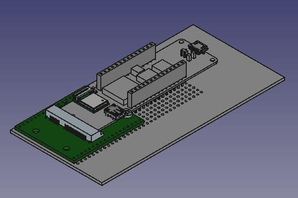 rendering of MKR Vidor 4000 on VidorBreakout on 2.54 mm grid